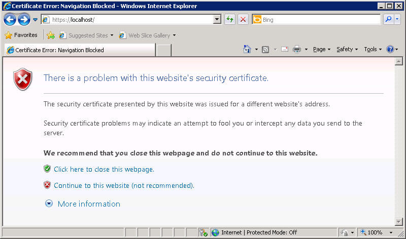 SSL certificate 'Name mismatch' error