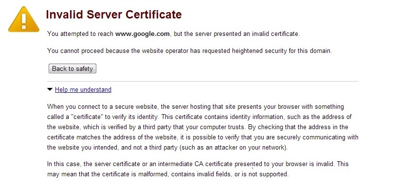 invalid server certificate error chrome