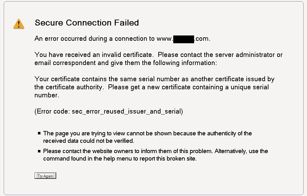 Secure Connection Failed