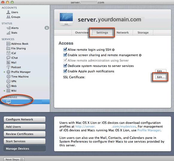SSL Installation on OSx Lion Server