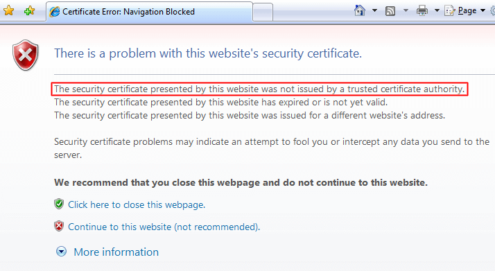 Certificate is not issued by Trusted Certificate Authority