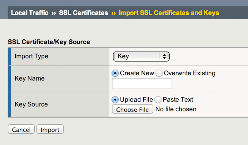 Import SSL certificate & keys on F5 Big IP
