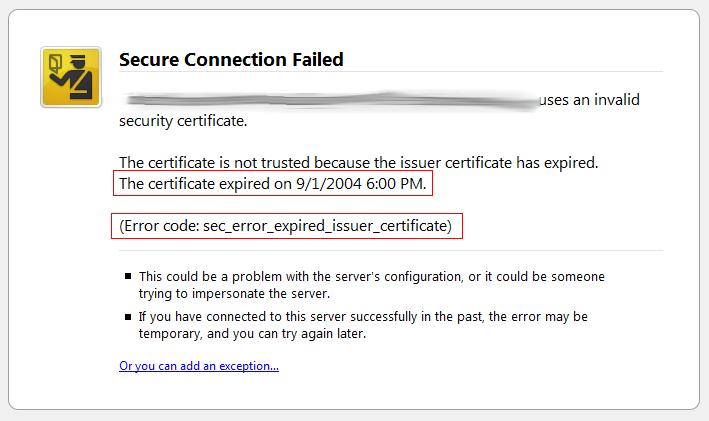 SSL Certificate Expired/Not Renewed