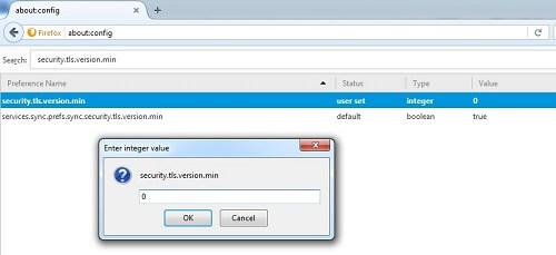 Update Integer Value in security.tls.version.min