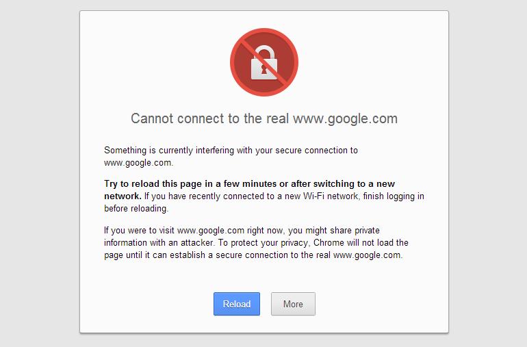 SSL Certificate Error on Google Chrome
