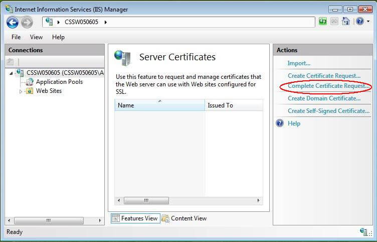 Install SSL on IIS 7 - Complete Server Certificate Request