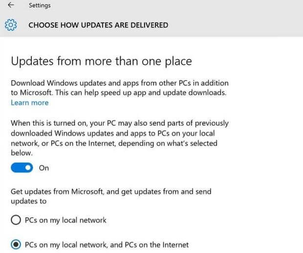 Disable Updated from More than One place - Windows 10