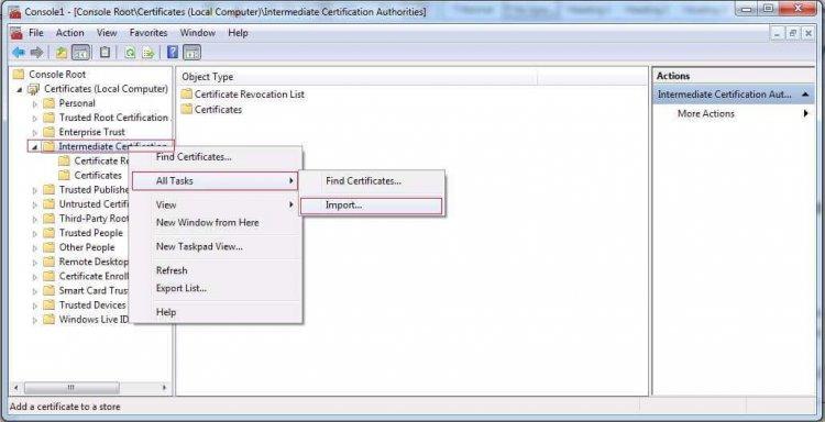 Install Intermediate Certificate in Microsoft Exchange Server