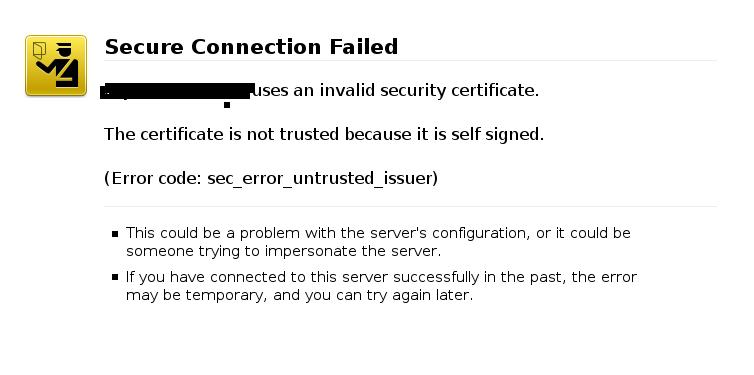 self-signed certificate error