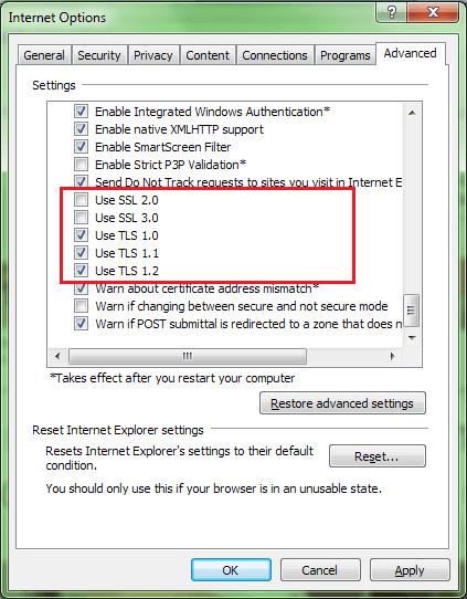 enable tls on internet explorer