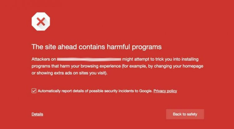 site contains harmful programs google chrome error