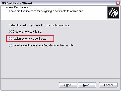 assign an existing certificate