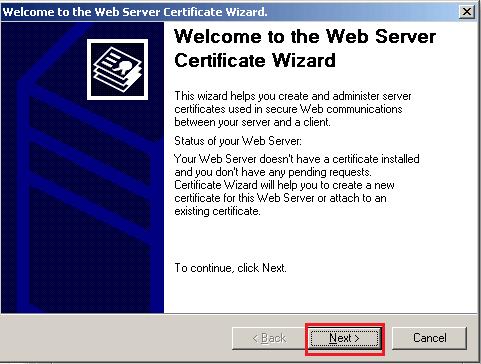 server certificate wizard
