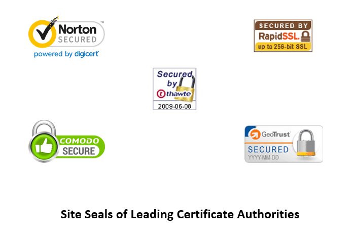 site seals of leading certificate authorities