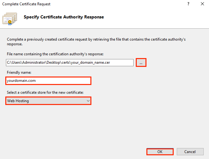 Install SSL on IIS 10