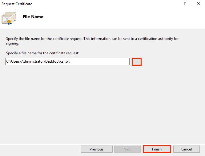 request certificate iis 10