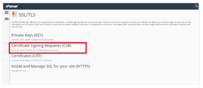 CSR settings in Cpanel
