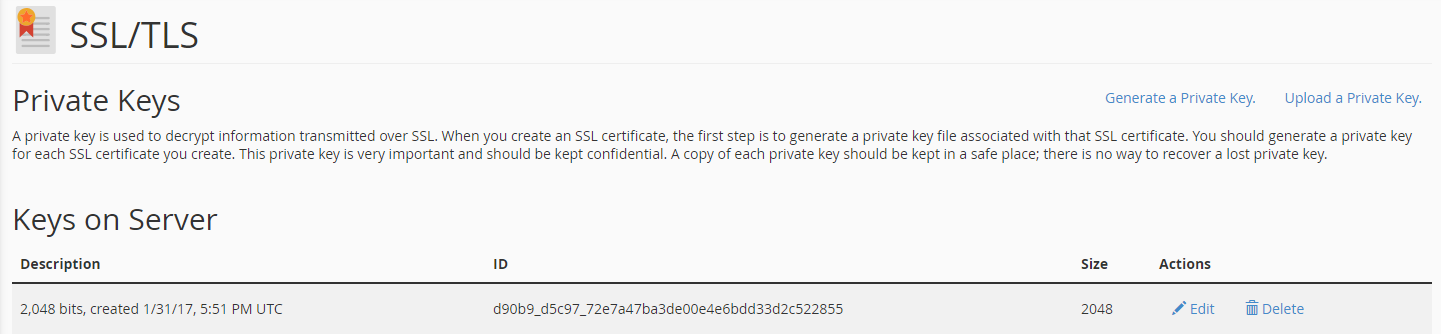 Private Keys in cPanel