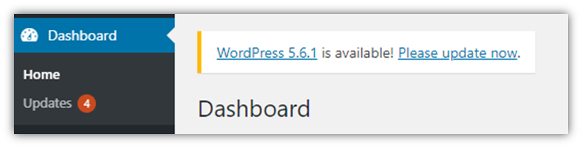 What is ransomware graphic: A screenshot of a WordPress dashboard showing that updates are available