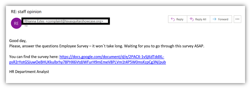 How to tell if an email is fake or real: this screenshot shows an HR phishing email from the email address from the domain texasguitarshowcase.org.