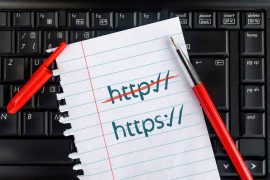 HTTP vs HTTPS feature graphic shows a piece of paper with HTTP crossed out and HTTPS remaining