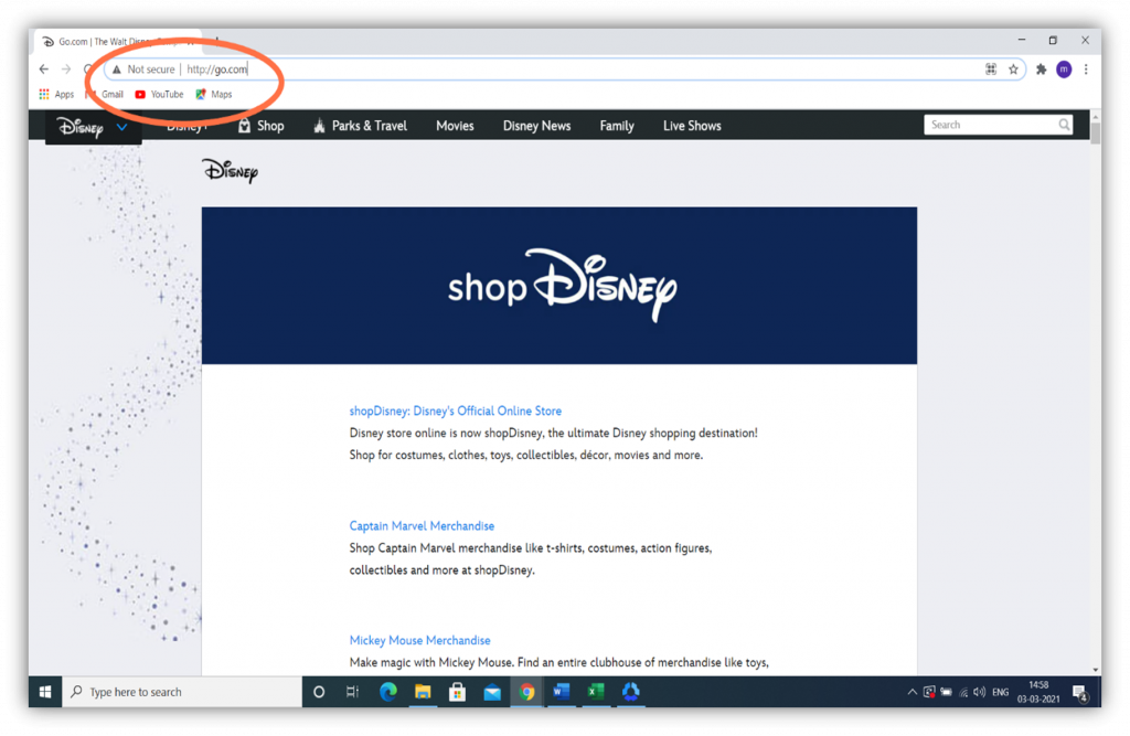 HTTP vs HTTPS graphic: This screenshot showcases an insecure Shop Disney site.
