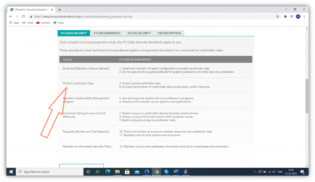 A screenshot from the PCI DSS site that highlights the section talking about protecting cardholder data.