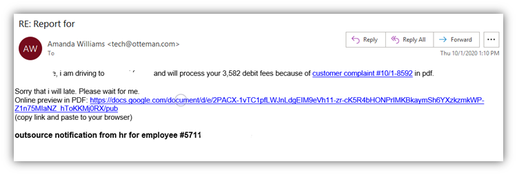 Phishing email examples graphic 7: A fake HR-related email with a phishing link to a Google doc.