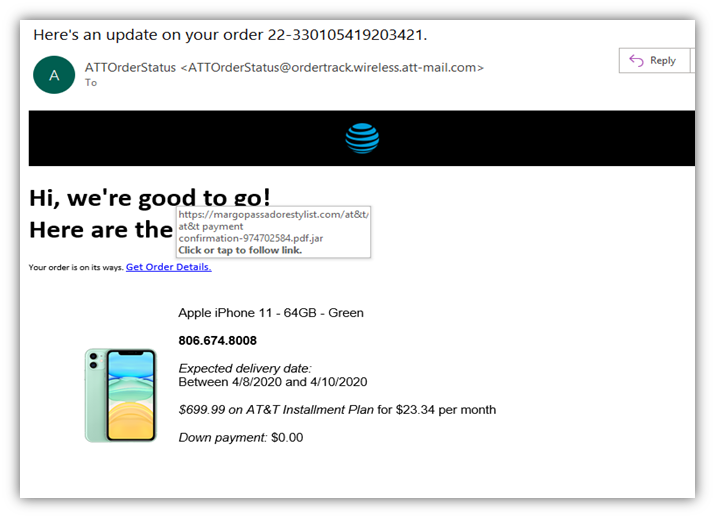 Phishing email examples graphic 2: A fake email that's designed to look like it came from AT&T