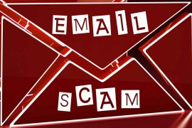 "phishing email examples feature graphic of a red email illustration with the threatening message ""email scam"" written in scrapped, mismatched letters"