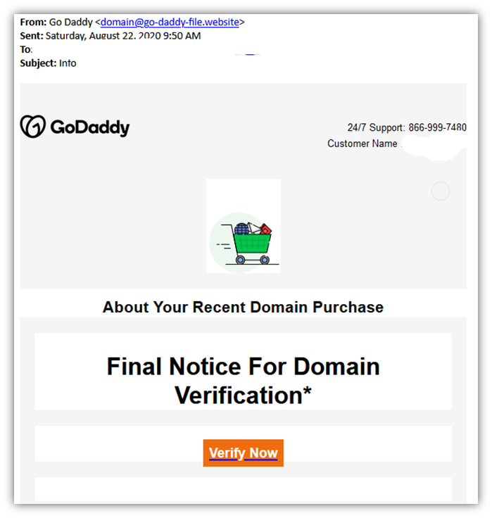 Phishing email examples graphic 4: A fake GoDaddy email attempting to trick the recipient into clicking on a phishing site link.