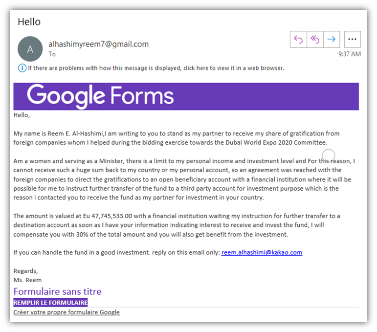 Phishing email examples graphic 3: A fake Google Forms email that aims to lure the recipient into sending an email to a separate account