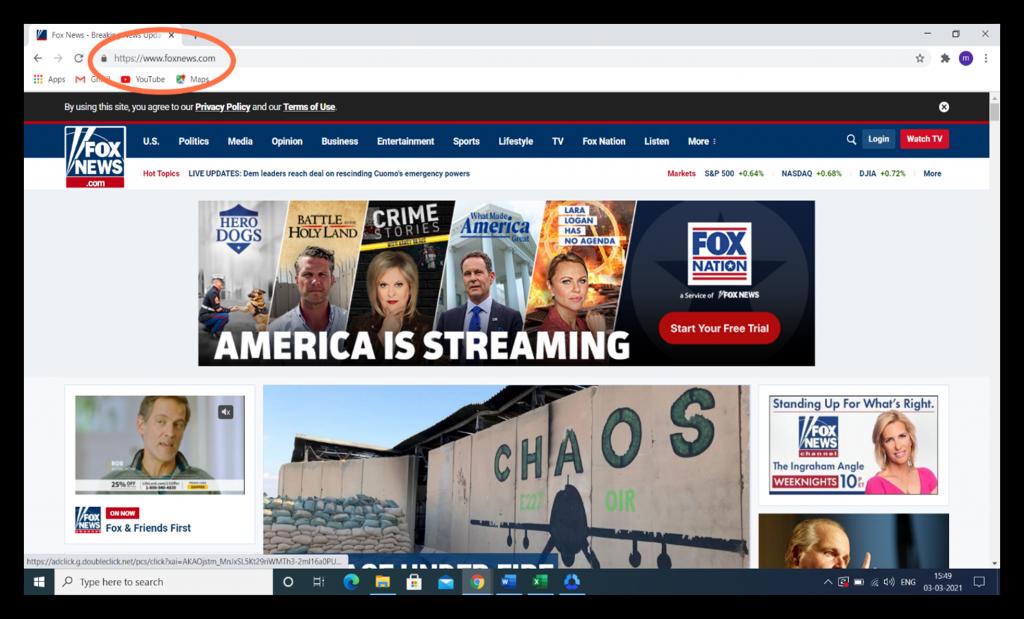 HTTP vs HTTPS graphic: A screenshot of the secure foxnews.com website.