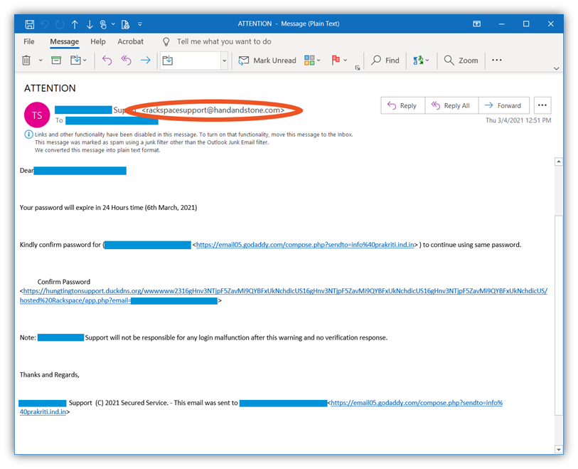 """A rackspace email spoofing example that has """"rackspace"""" as the first part of the email address but is sent from an unknown domain"""