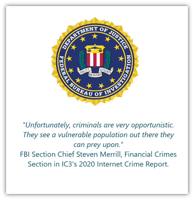 A graphic that contains the FBI seal and a quote from Section Chief Steven Merrill.