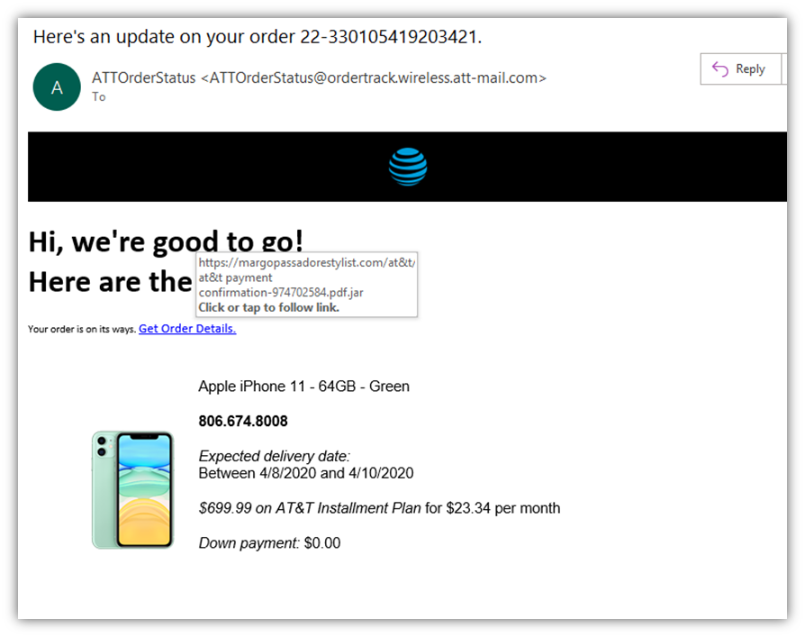 A screenshot of a fake AT&T email that tries to disguise a malicious URL to trick users into clicking on it.