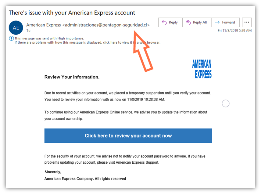 A screenshot of an email that shows an email sender impersonating American Express