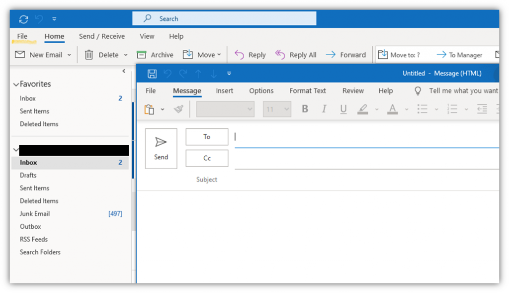 The first step of how to encrypt email in Outlook