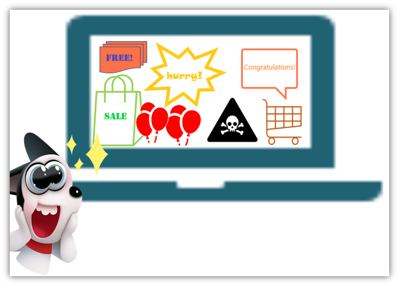 What is adware? Adware definition illustrated with a laptop filled with pop-up ads and a frustrated user