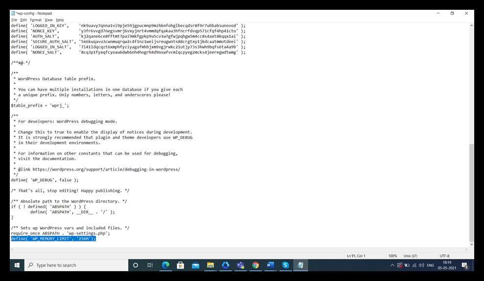 wp-config screenshot