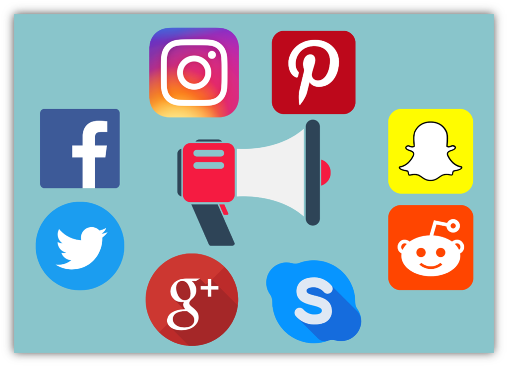 how to get malware method 2: using social media. This illustration is a collage of different social media platform icons