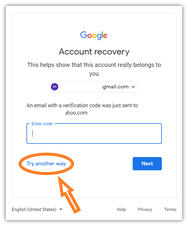 A screenshot of Google's Account Recovery tool with an email verification code prompt