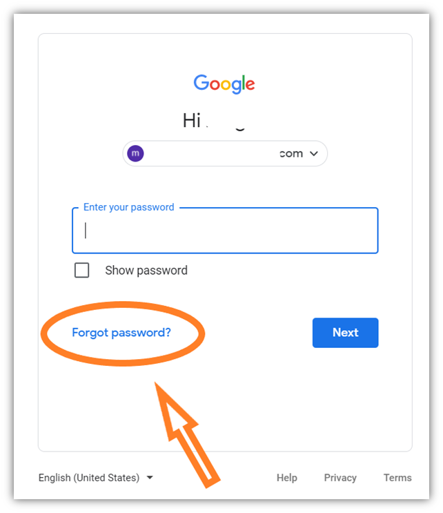 """An example of Google's login screen with """"Forgot password?"""" circled"""