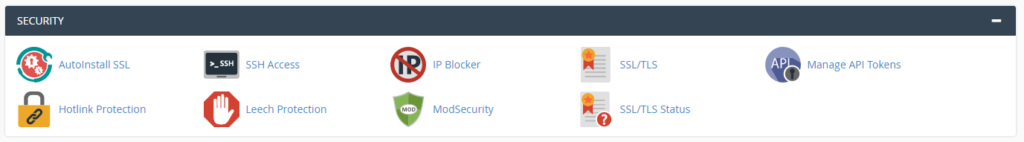"Graphic: The ""Security"" section of cPanel"