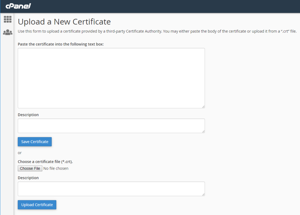 Graphic: Upload a new certificate