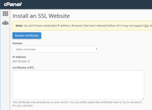 Browse SSL certificates in cPanel