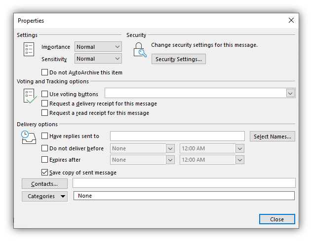 Screenshot: Email encryption in Outlook
