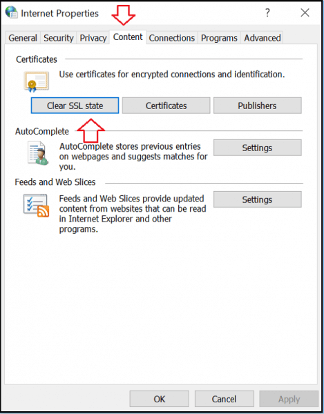 content clear ssl state option